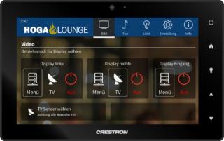 Quellenwahl auf Crestron Touchpanel für die Hoga Lounge Gastronomie