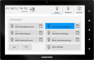 Frei einstellbare Lichtszenen auf Crestron Touchpanel bei GmundPaper im Eventstald